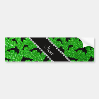 Personalized name lime green glitter dolphins bumper stickers
