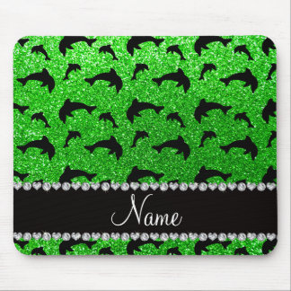Personalized name lime green glitter dolphins mouse pads