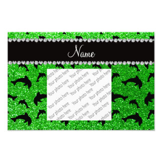 Personalized name lime green glitter dolphins photo print