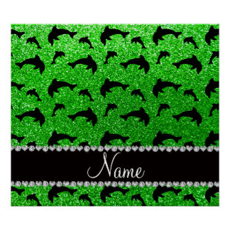 Personalized name lime green glitter dolphins poster