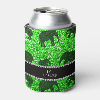 Personalized name lime green glitter elephants can cooler