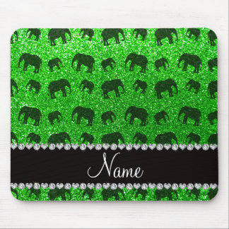 Personalized name lime green glitter elephants mousepad