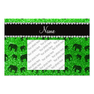 Personalized name lime green glitter elephants photo art