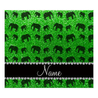 Personalized name lime green glitter elephants poster