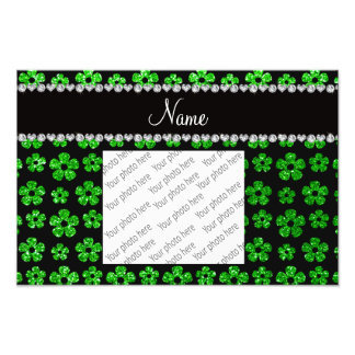 Personalized name lime green glitter flowers photographic print