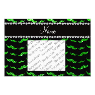 Personalized name lime green glitter mustaches photograph