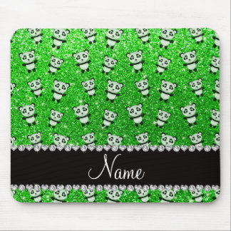 Personalized name lime green glitter pandas mouse pads