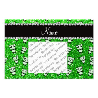 Personalized name lime green glitter pandas art photo