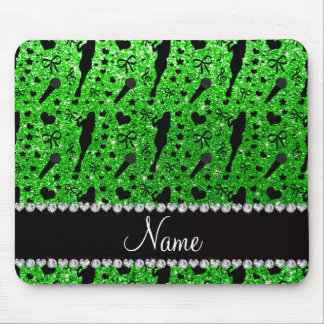 Personalized name lime green glitter singer mousepad