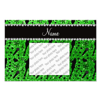 Personalized name lime green glitter singer photo art