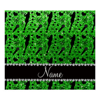 Personalized name lime green glitter singer poster