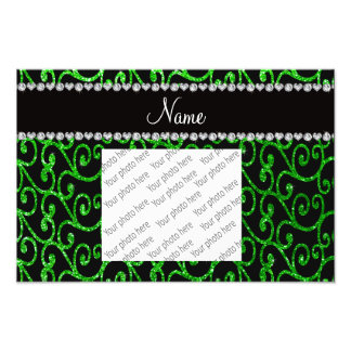 Personalized name lime green glitter swirls photograph