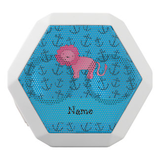 Personalized name lion blue anchors pattern white boombot rex bluetooth speaker