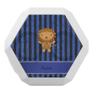 Personalized name lion blue glitter stripes white boombot rex bluetooth speaker