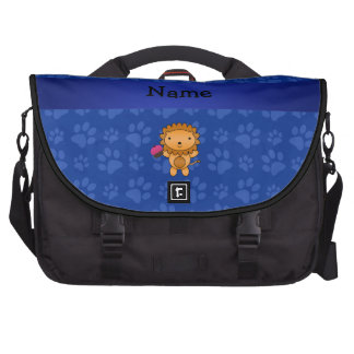 Personalized name lion cupcake blue paws laptop commuter bag