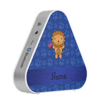 Personalized name lion cupcake blue paws