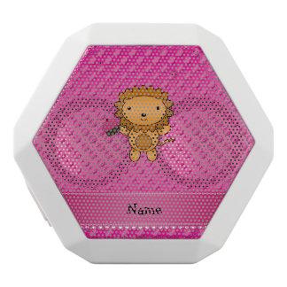 Personalized name lion cupcake pink polka dots white boombot rex bluetooth speaker