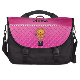 Personalized name lion cupcake pink polka dots commuter bags