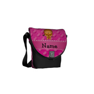 Personalized name lion cupcake pink polka dots messenger bag
