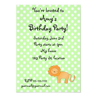 """Personalized name lion green polka dots 5.5"""" x 7.5"""" invitation card"""