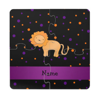 Personalized name lion halloween polka dots puzzle coaster