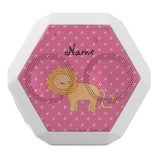 Personalized name lion pink diamonds white boombot rex bluetooth speaker