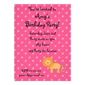 Personalized name lion pink diamonds invitations