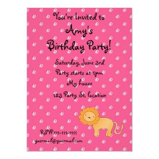 Personalized name lion pink diamonds invitations
