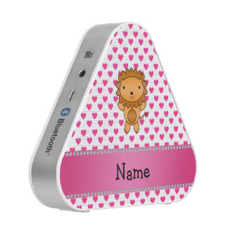 Personalized name lion pink hearts polka dots bluetooth speaker