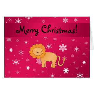 Personalized name lion pink snowflakes greeting card