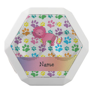 Personalized name lion rainbow paws white boombot rex bluetooth speaker