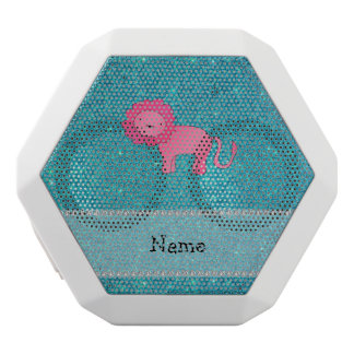 Personalized name lion turquoise glitter white boombot rex bluetooth speaker
