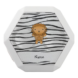 Personalized name lion zebra stripes white boombot rex bluetooth speaker