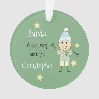 Personalized name little boy green Christmas Santa Ornament