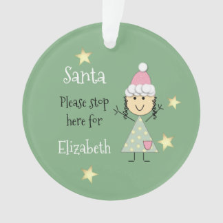 Personalized name little girl green Christmas Ornament