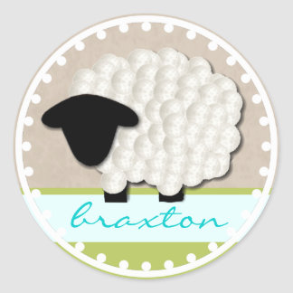 Personalized Name Little Lamb Stickers (Round)