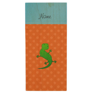 Personalized name lizard orange polka dots wood USB 2.0 flash drive