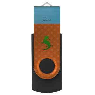 Personalized name lizard orange polka dots swivel USB 2.0 flash drive
