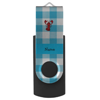 Personalized name lobster blue gingham pattern swivel USB 2.0 flash drive