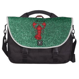 Personalized name lobster red mint green glitter commuter bag