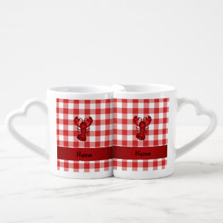 Personalized name lobster red picnic checkers coffee mug set