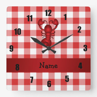 Personalized name lobster red picnic checkers square wall clock