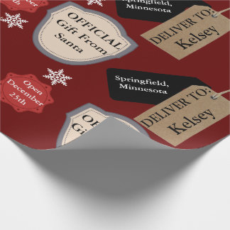 Personalized Name & Location Official Santa Wrapping Paper