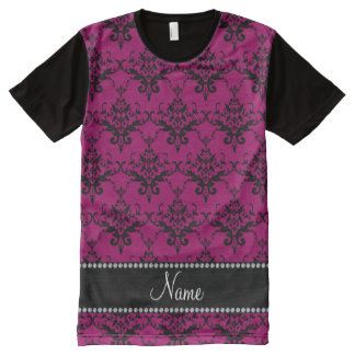 Personalized name Magenta pink black damask All-Over Print T-Shirt