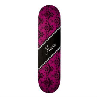 Personalized name Magenta pink black damask Skateboard Deck