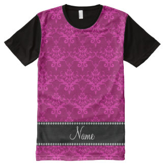 Personalized name Magenta pink damask All-Over Print T-Shirt
