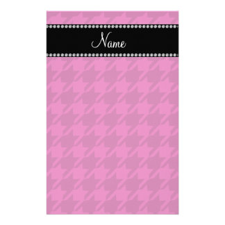 Personalized name magenta pink houndstooth stationery paper