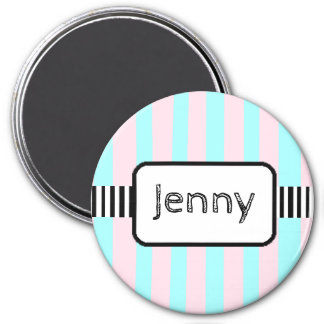Personalized Name Magnet Pink and Blue Stripes
