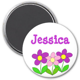 Personalized Name Magnet, Pink and Purple Flowers Magnet