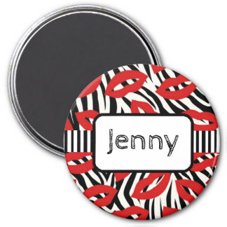 Personalized Name Magnet Zebra Stripes Red Lips